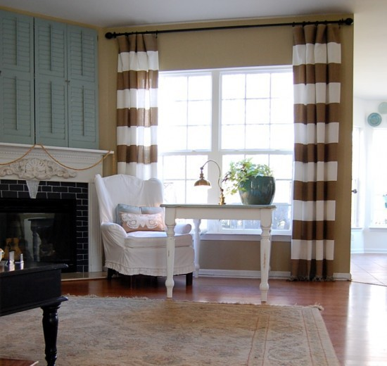 Beige And White Horizontal Striped Curtains